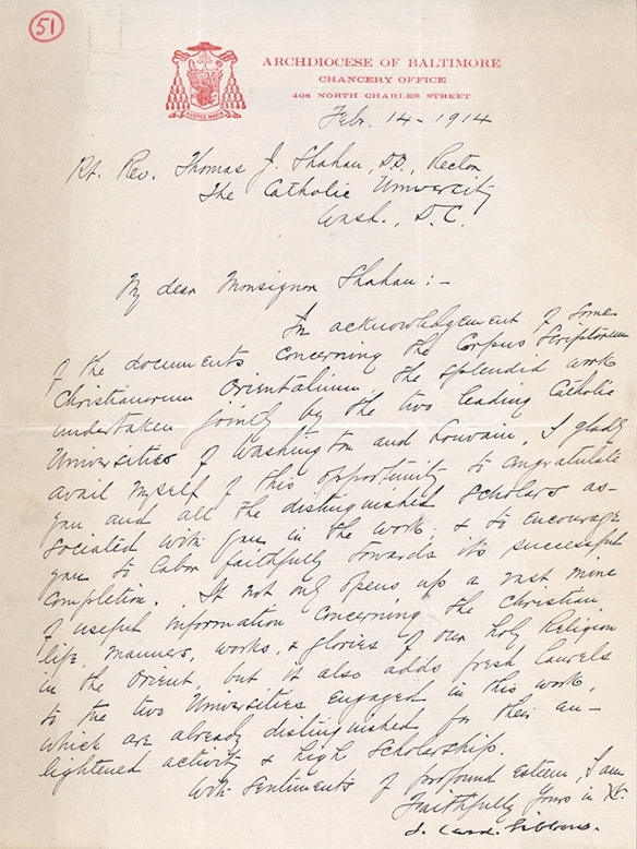 Letter to Thomas J. Shahan from Cardinal Gibbons