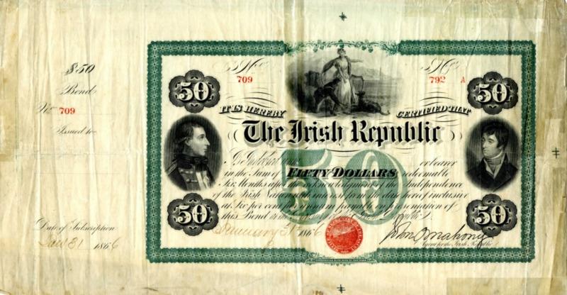 Fifty dollar bond (The Irish Republic), no. 709, signed by John O'Mahony
