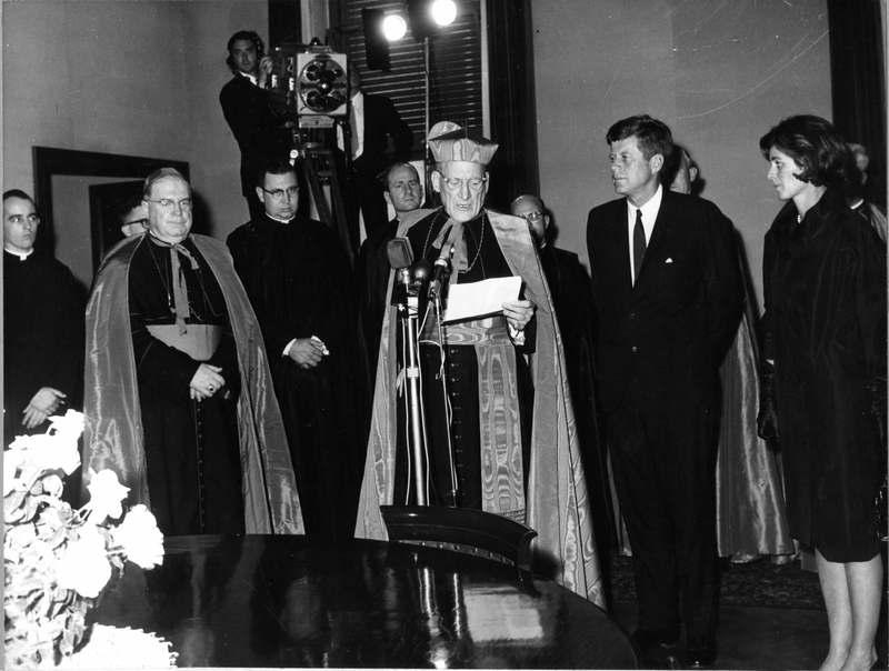 (L to R) Archbishop O'Connor, Cardinal Cushing, and JFK