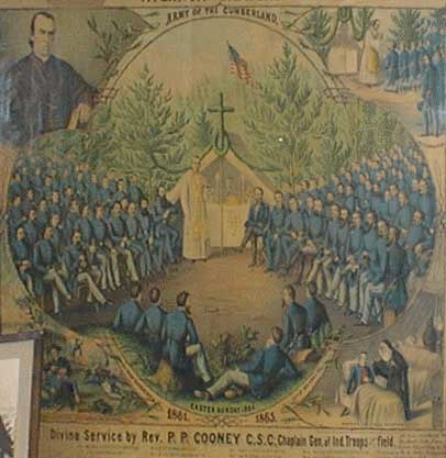 Civil War Mass print showing the service of Rev. P.P. Cooney, C.S.C. With the Army of the Cumberland