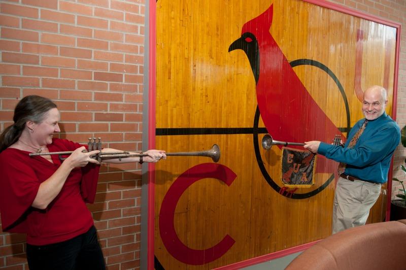 Rachel Barham & Maurice Saylor battling with herald trumpets