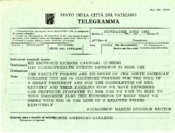 Telegram to Archdiocese of Boston remembering JFK