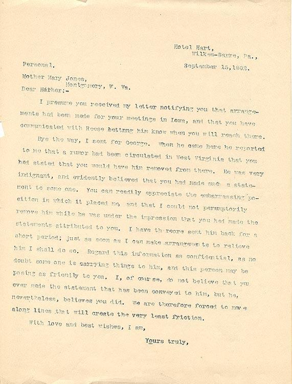 John Mitchell to Mother Jones, 15 September 1902
