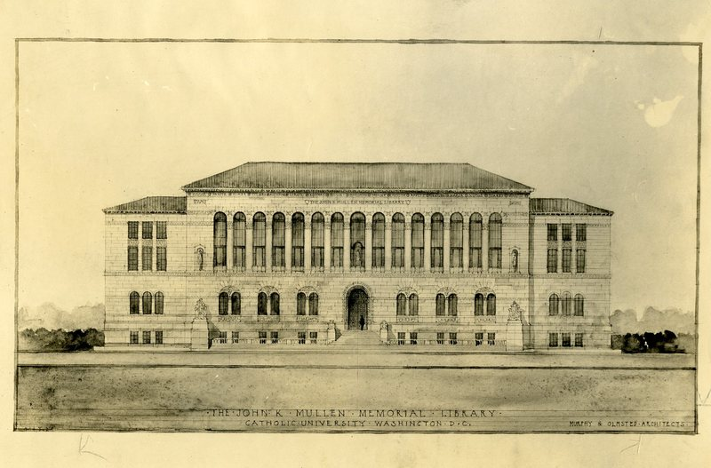 Architectural Drawing of Mullen Library