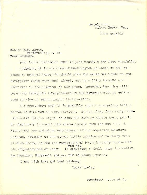 John Mitchell to Mother Jones, 25 June 1902