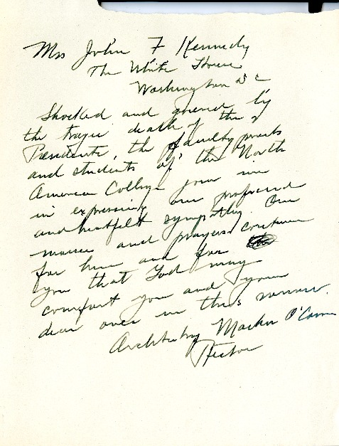 NAC condolence letter to White House on the passing of JFK