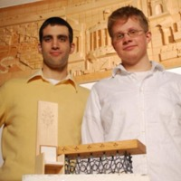Architecture students, Mullen and Mikolajczyk, with their winning entry in the papal design contest
