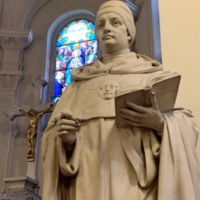 Statue of St. Thomas Aquinas in Caldwell Chapel, Closer Image.