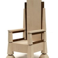 Larger architectural model of papal chair created by Farazad, Fullam, Pettit, and Steen