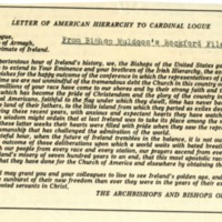 Letter of American Hierarchy to Cardinal Logue