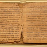 A museum-grade reproduction of the ancient Bodmer Papayrus VIII