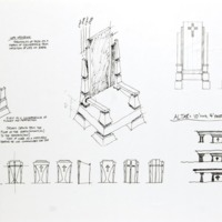 Preliminary architectural drawings of papal chair created by Farazad, Fullam, Pettit, and Steen