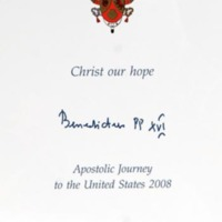 Commemorative papal card with printed signature of Pope Benedict XVI