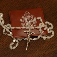 A rosary blessed by Pope Benedict XVI during his visit to campus