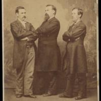 Studio portrait of Jeremiah O'Donovan Rossa (in the center) and two unidentified men