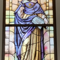 Stained Glass Window of St. Thomas Aquinas in the Busch School of Business St. Michael the Archangel Chapel, Closer Image.