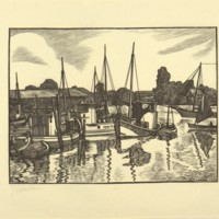 Untitled (Woodcut Print of Boats and Dock, Print 1)