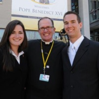 Catherine Picou, Class of 2008, Father O'Connell, and Peter Osgood prior to audience with Pope Benedict XVI