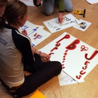 Students take part in the banner/poster making party