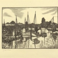 Untitled (Woodcut Print of Boats and Dock, Print 2)