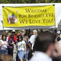 The CUA community displays their affection for Pope Benedict XVI