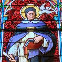 Stained Glass Window of St. Thomas Aquinas, Detail of St. Thomas Aquinas