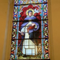 Stained Glass Window of St. Thomas Aquinas, Closer Image.
