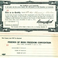 Bishop Shahan's Certificate to be a Delegate at National Convention of the Friends of Irish Freedom