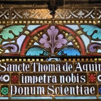 Stained Glass Window of St. Thomas Aquinas, Detail of Text.