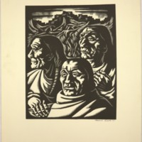 Untitled (Woodcut of Three American Indians)