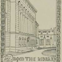 Bookplate of Mullen Library from the Cardinal Yearbook of 1926