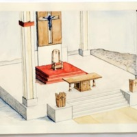 Architectural drawing of papal chair created by Farazad, Fullam, Pettit, and Steen