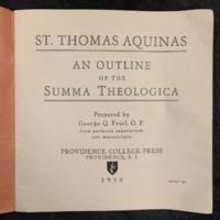 St. Thomas Aquinas: An Outline of the Summa Theologica (1950), Title Page.